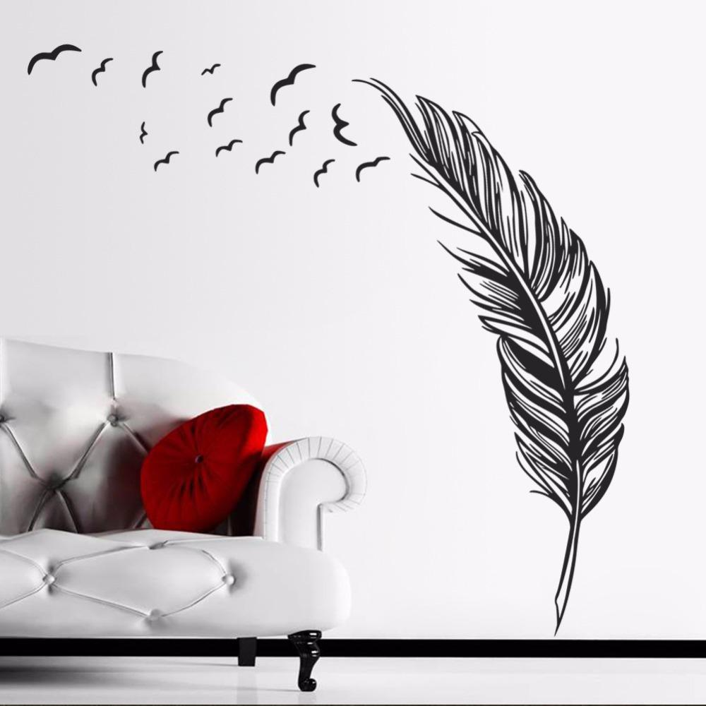 8014Z Grande Feather Wall sticker Home Decor Plume Wallpaper Poster Wall Art Decal Vinilo decorativo Pegatina Fai da te Vinyl