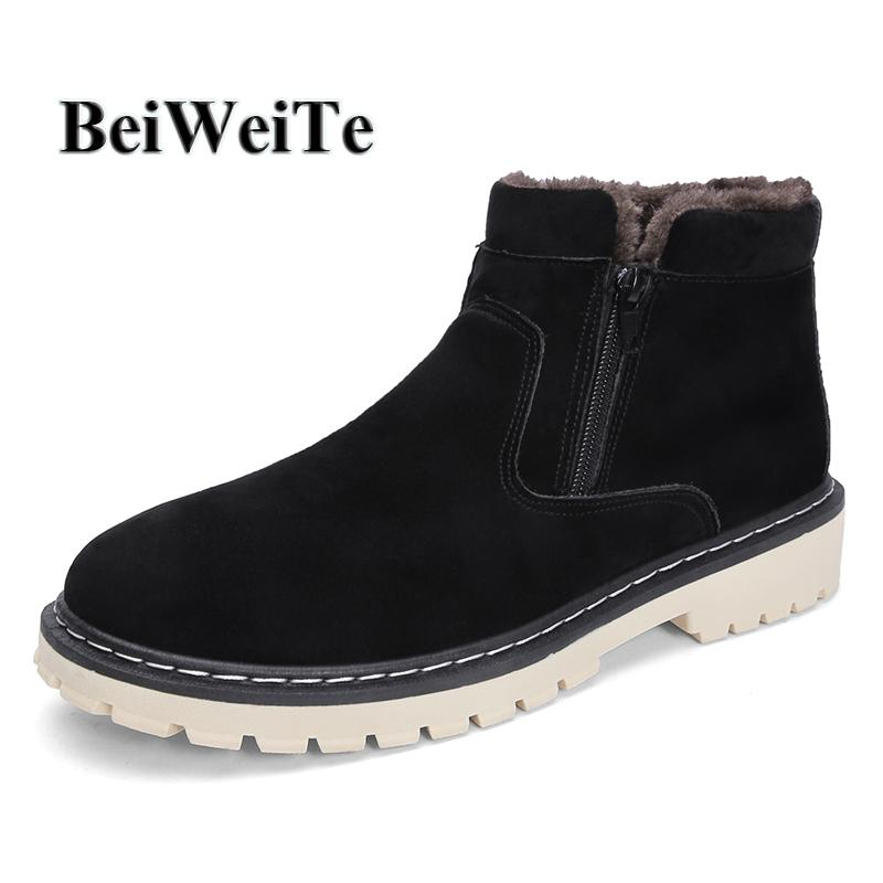 price reduced free shipping new high quality Men s Warm Snow Walking Boots With Fur Suede High Top Barefoot Shoes  Non-slip Rubber Winter Comfortable Outdoor Casual Shoes New