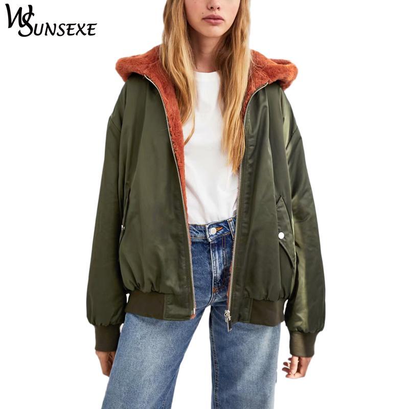 6107277fe Winter Fashion Warm Reversible Jacket Coat Women Casual Fleece Parka 2018  New High Street Bomber Loose Thicken Hooded Outerwear Basic Jackets Cheap  Basic ...