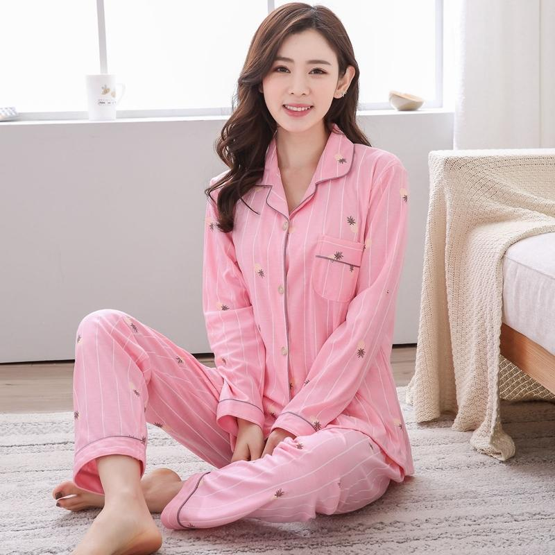 Compre Plus Size 5XL 100% Conjuntos De Pijama De Algodão Para As Mulheres  2018 Outono Inverno Casual Listrado Homewear Pijama De Manga Longa Roupa De  Salão ... 3efcf590e