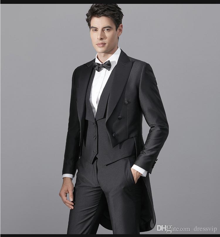 Escudo de cola trago negro 2018 trajes de baile de cuatro piezas (chaqueta  + pantalón + chaleco + pajarita) Por encargo Novios Esmoquin Hombres Vestido  de ... caed8313866