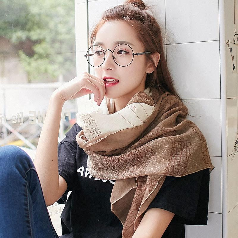 Fashion Autumn Scarf For Women 2018 New Printing Korean style 180CM Scarf 7 Styles Soft Cotton Scarves And Shawls Cheap Price