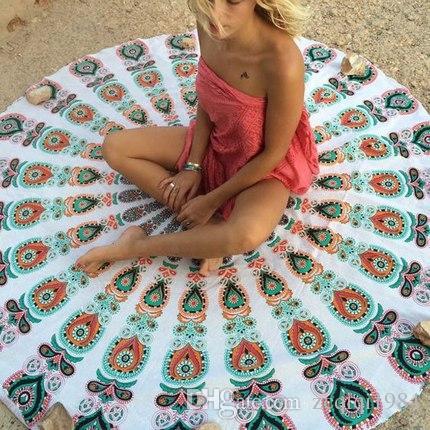 جولة الشاطئ بطانية منشفة الشيفون وبحر شال ماندالا الطاووس نمط نسيج حصيرة اليوغا على مزيج تصاميم