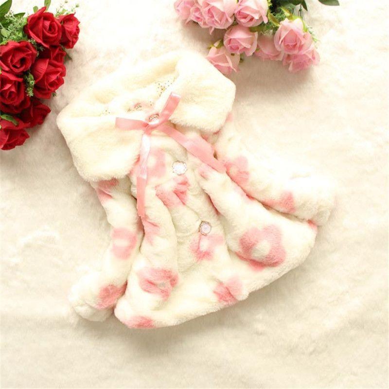 Cappotto invernale da 1 a 4 anni Baby Sun Flower Cappotto con visiera in pelliccia sintetica Cappotto con risvolto casuale Giacche di pelliccia bambini