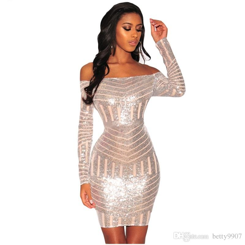 6a6d7706e5db5 2019 Designer Women Club Wear Sexy Party Dresses Bodycon 2018 Silver Sequins  Nude Mesh Off Shoulder Long Sleeves Mini Dress From Betty9907, $34.48 |  DHgate.
