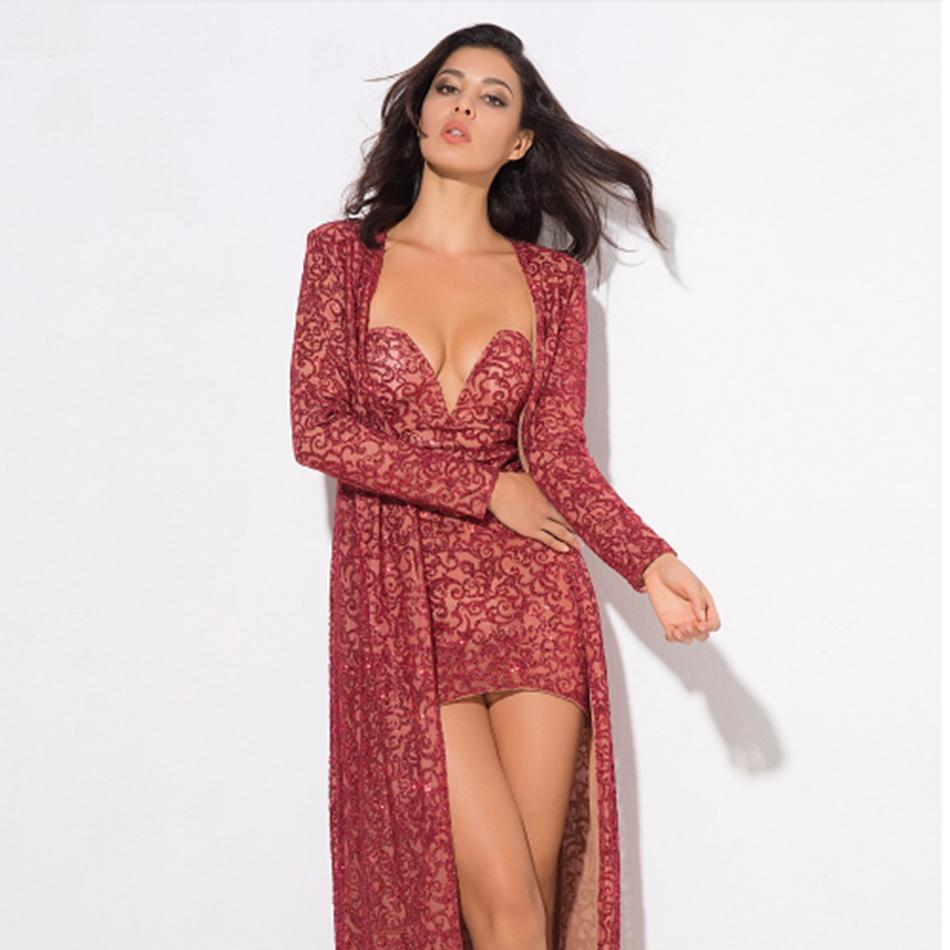 2018 new arrival red Sequins dress & Cardigan 2 piece combination Women Sexy celebrity Party Bodycon dress and Cardigan