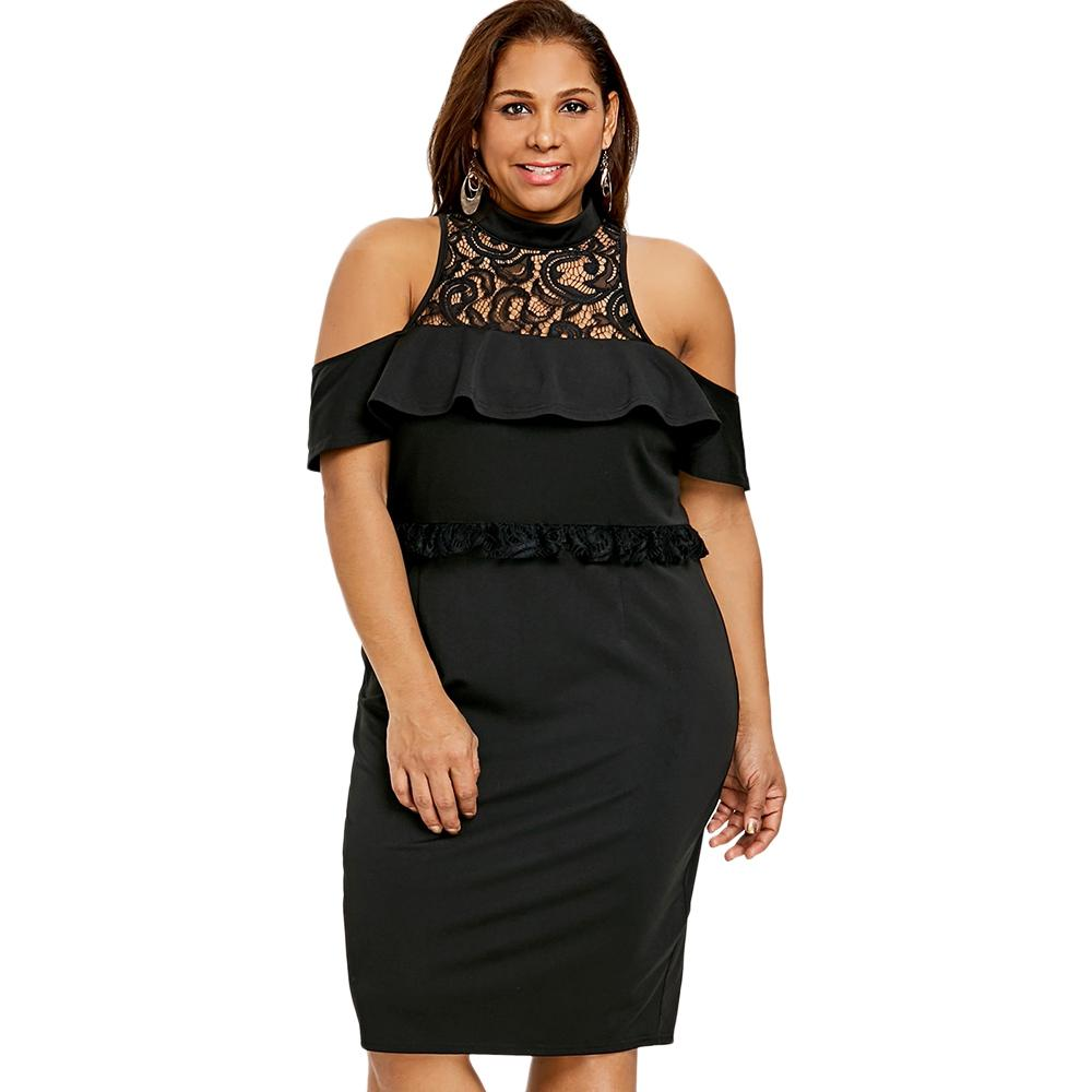 7cf83af7117d3 2018 New Summer 5XL Plus Size Cold Shoulder Ruffled Bodycon Dress Maxi  Bodycon Women Female Dress Black Dresses Sale Dressing Women From  Xuxiaoniu1