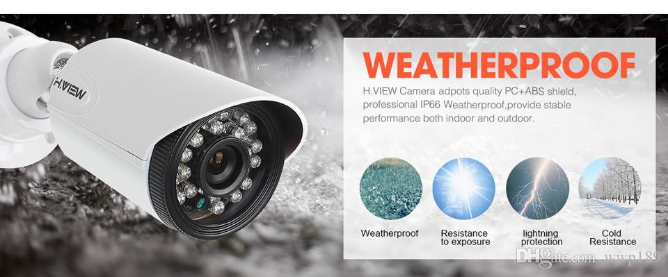 H.View 4CH CCTV System 720P HDMI AHD CCTV DVR 1.0 MP IR Outdoor Security Camera 1200 TVL Camera Surveillance Kit