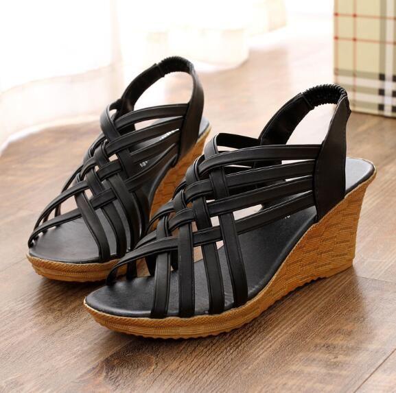 88cbbe4eb37c61 Acheter Européen Et Américain Nouveau Style Wedge Talon Sandales Femmes  Poisson Bouche Sandales Talons Hauts Croix Chaussures De $42.47 Du Kkbags |  DHgate.