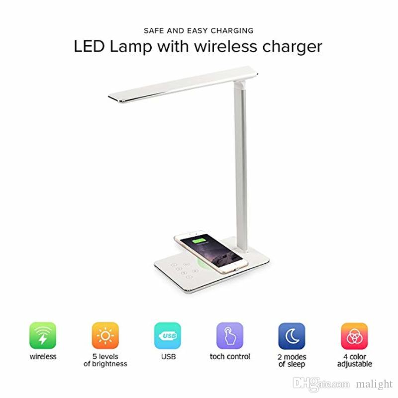 2in1 Wireless Charger Led Table Lamp For iPhone X/8 5W Dimmable Touch Sensor Desk Lamp USB Charging Bureau Office Reading Lights