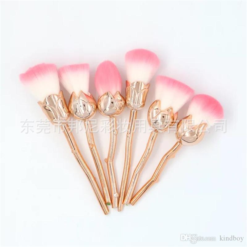 6 TEILE / SATZ Rose Blume Make-Up Puder Foundation Blush Pinsel Set Weiche Rose Blume Make-Up Pinsel Set OPP Beutel Verpackt