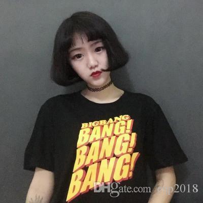 fa254b655bd7e 2017 Summer K Pop Fashion BangBangBang Printed T Shirt Women Men Couples  Dress Street Hiphop Style Short Sleeve Black Tops Tee Buy Shirts Online  Print ...