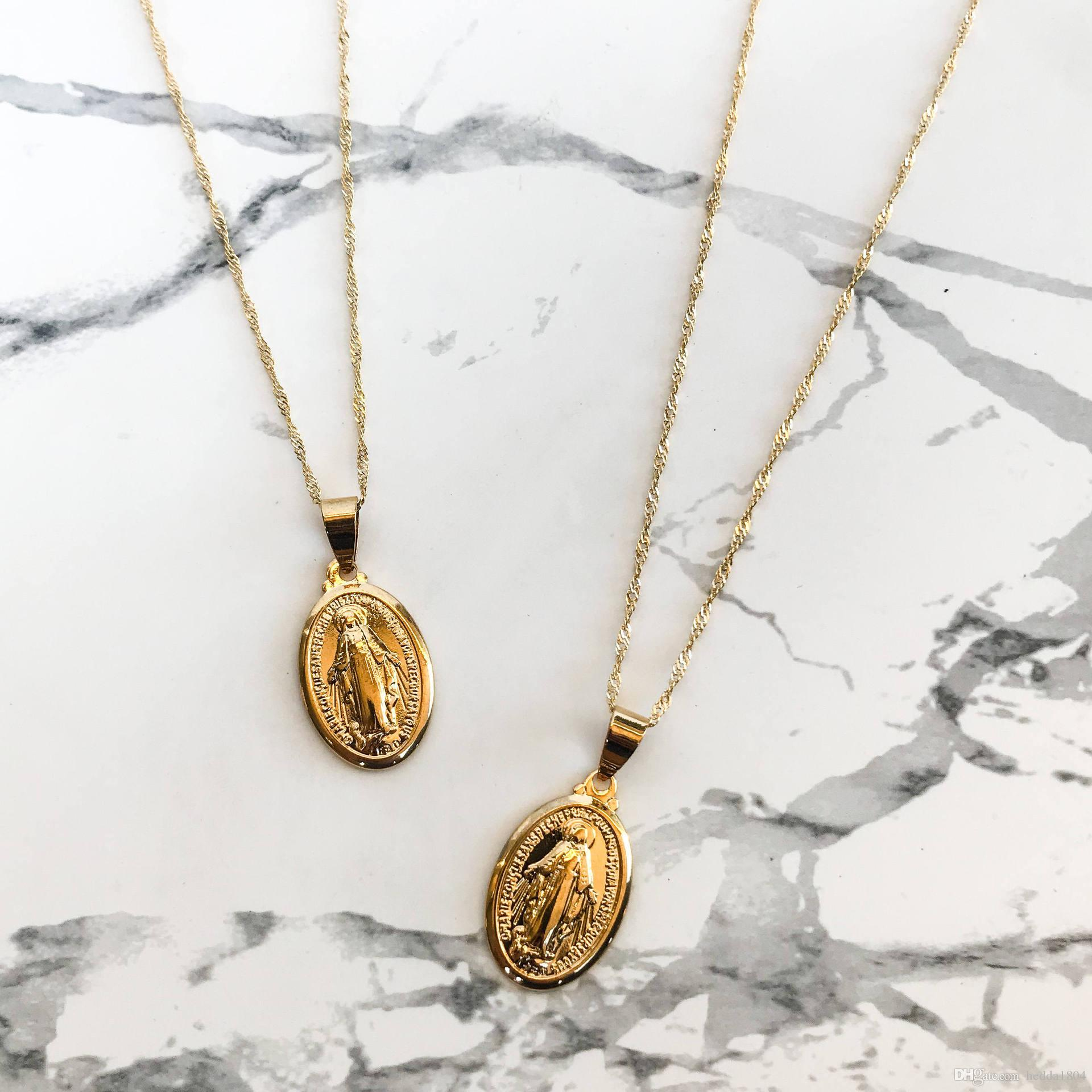 55ccd34cc6513 Hot Sale Virgin Mary Necklace Gold Plated Dainty Gold Medallion Necklace  Mother Mary Pendant Religious Catholic Gift Jewelry