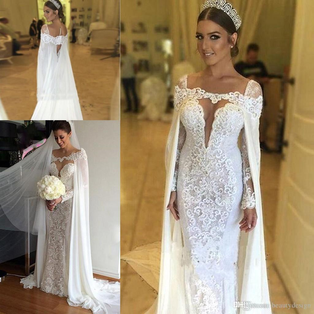 3eed421cef New Lace Applique Beaded Mermaid Wedding Dresses With Chiffon Cape 2018  Sexy Illusion Long Sleeves Floor Length Bridal Gowns Bridal Gown Designers  Bridal ...