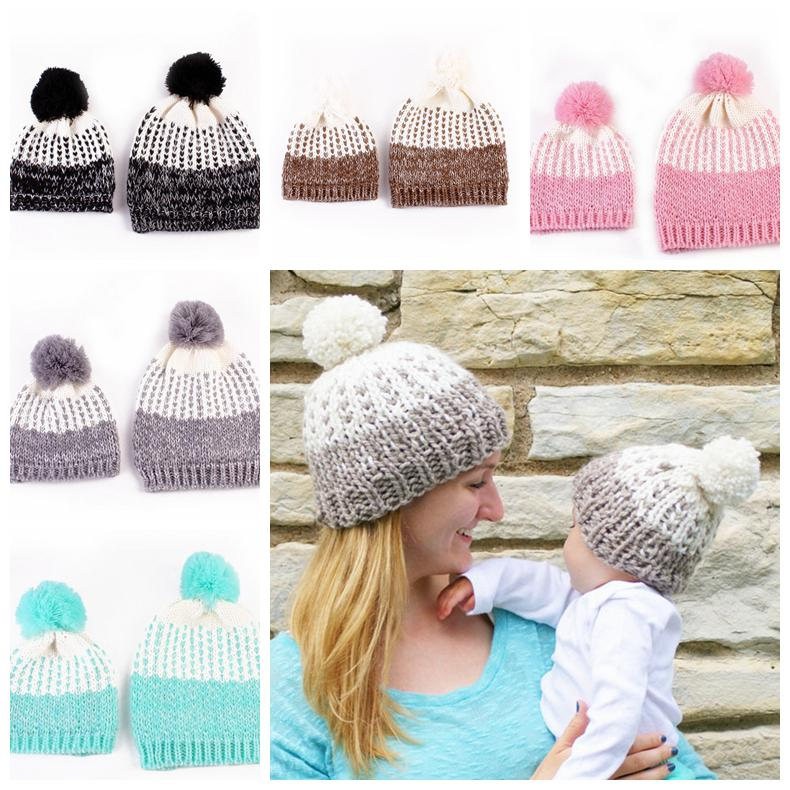 c276486f5 2PCS/ Set Family Matching Hat solid knitted hat Mom Baby Pompoms Hats  Autumn Winter Crochet fashion newborn Beanies Photo Props FFA998 50lot