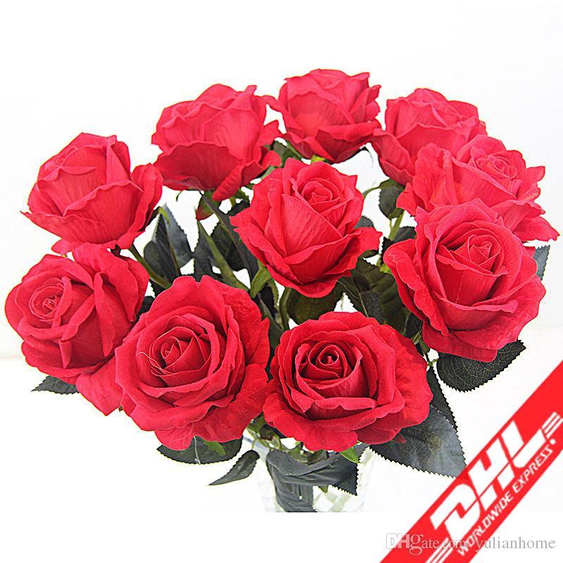 2018 Artificial Rose Diy Fake Flowers Bridal Bouquet Wedding Decor ...