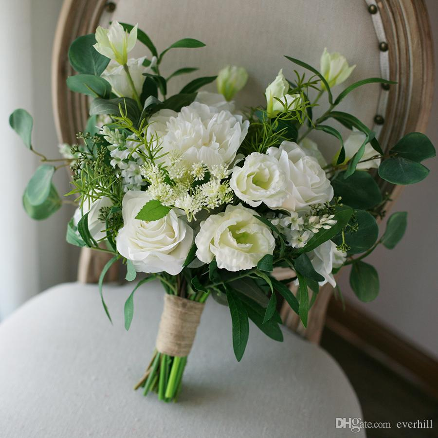 Wedding Bridal Flowers: Winter Wedding Boeket White Green Artificial Wedding