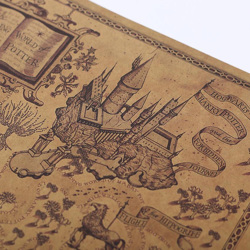 % Карта волшебного мира Гарри Поттера Плакат фильма 72х46см Классический плакат Урожай Ретро Бумажные ремесла Стены Стикеры Плакат