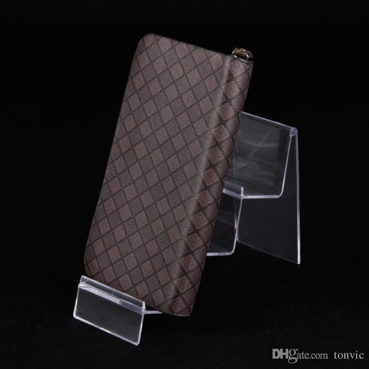 Groothandel 4 Hoge Kwaliteit Zwart / Clear Plastic Portemonnee Display Show Stand Card Houder 3 Tiers
