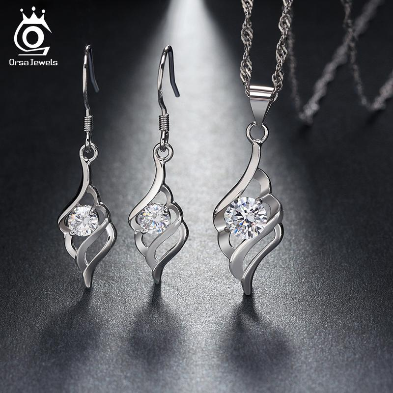 ORSA JEWELS Silver Earrings&Pedant Necklace Jewelry Set with Shiny Crystal Romantic Jewelry Accessories for Women OS04