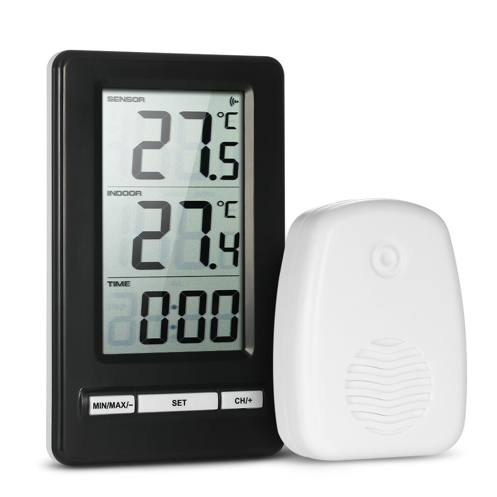 LCD C/F Digital Wireless Thermometer Transmitter Indoor/Outdoor Temperature Measurement Max/Min Value Display 12H/24H Clock