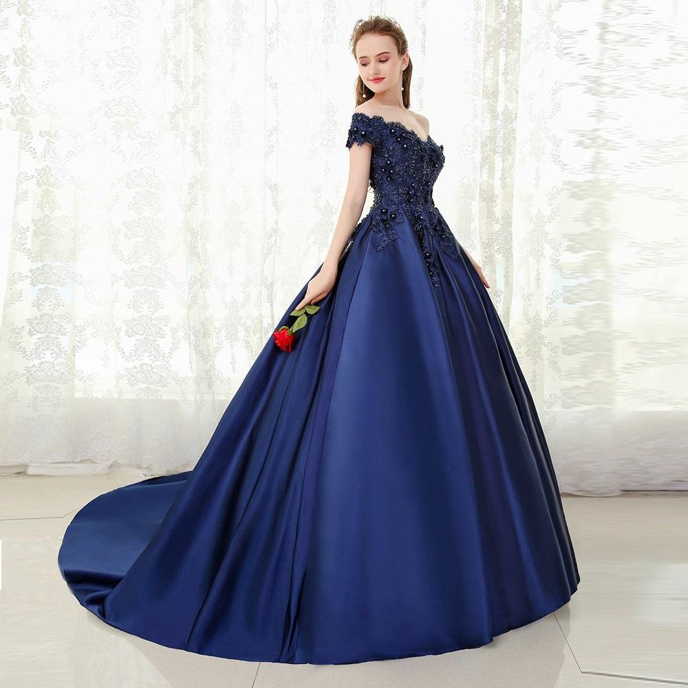 ac348c751f Compre Vestido De Noche Largo Azul Marino Con Cuello En V Vestido De Fiesta  Largo Con Cuentas De Encaje Vestido De Fiesta Largo Con Hombro A  180.05  Del ...
