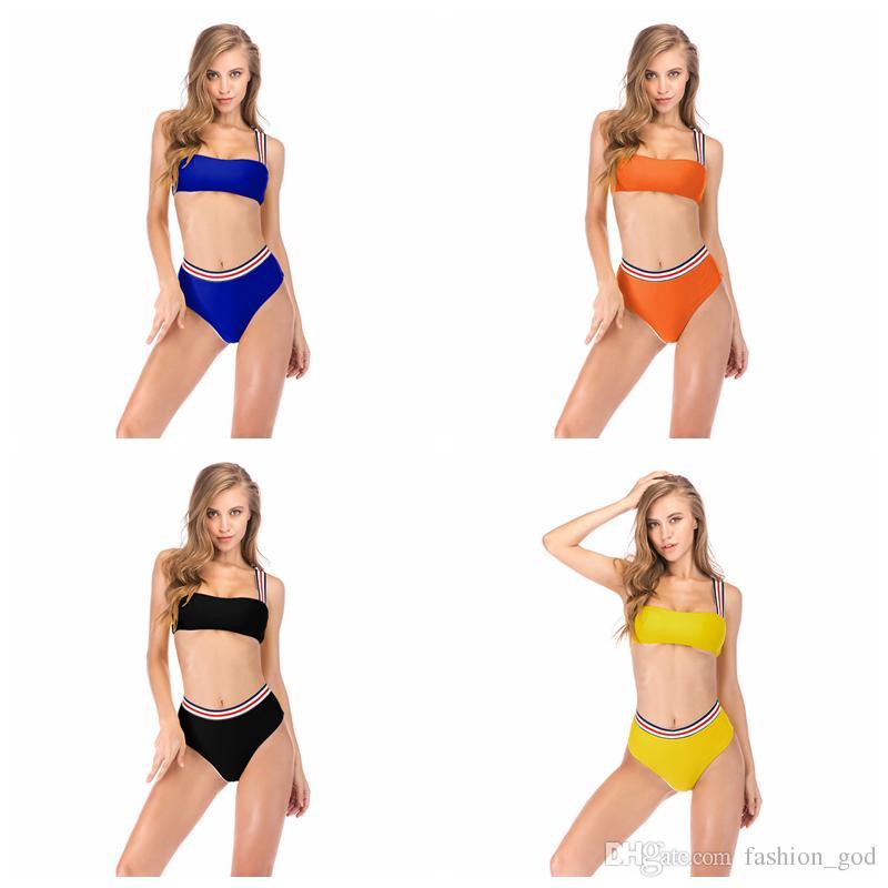 4195a9c6a6b 2019 Bikini Set Women Striped Swimsuit Sexy Swimming Two Piece Set Fashion  High Waist Swimsuit Vintage Strap Bathing Suit Beachwear YFA311 From  Fashion_god, ...