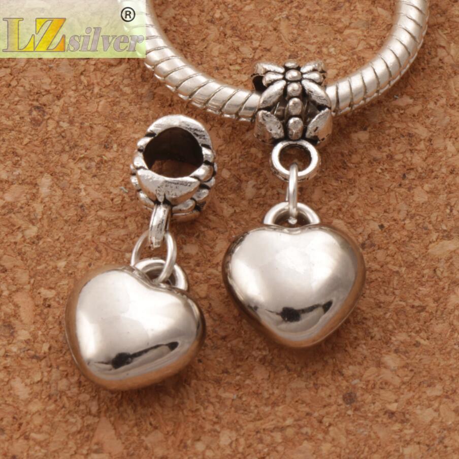Perles d'alliage d'alliage de coeur aimants / Nouveau Coupe d'argent Antique Fit Bracelet de charme Européen Mic