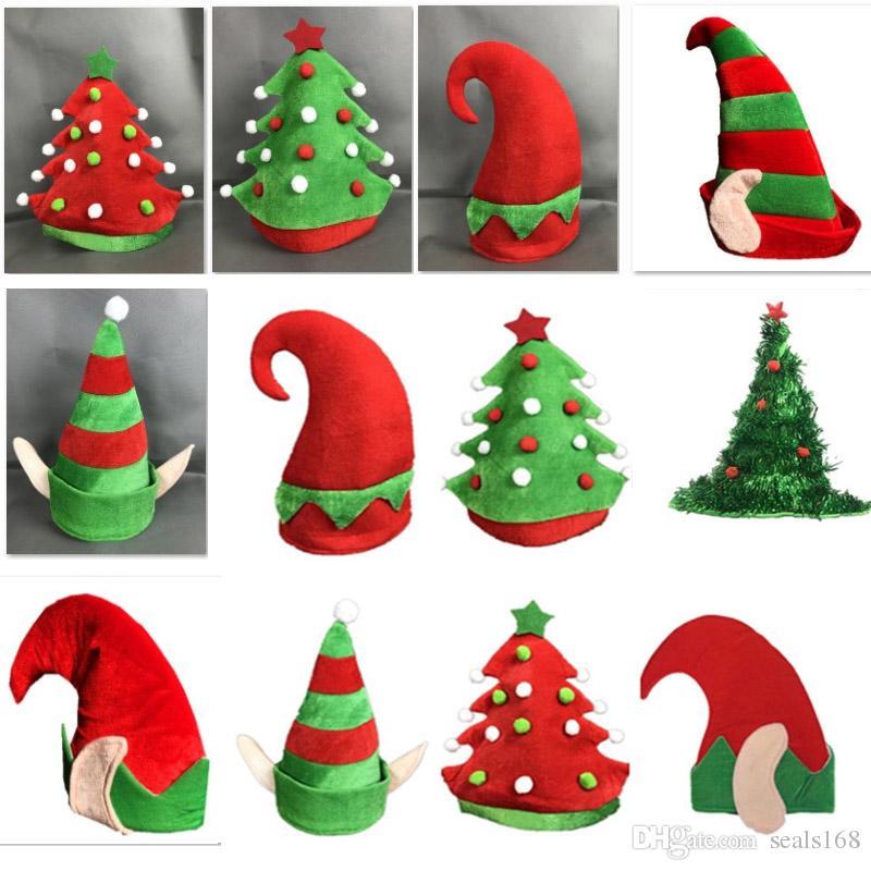 Compre Novo Natal Elf Chapéus Chapéus De Flanela Quente Gorros Para Adultos  E Crianças Árvore De Natal Traje Do Chapéu Decoração Presentes 7 Estilos  HH7 ... 5b91da9fac8