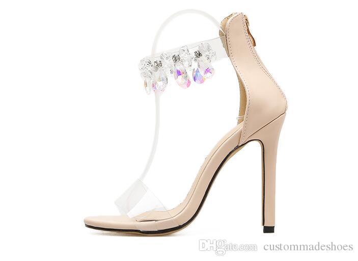 1fd6302b6b510 Compre Las Sandalias De Cristal De Las Mujeres De Moda Zapatos De Novia De  La Boda 11.5 Cm De Tacones Altos Sandalias De Las Mujeres Zapatos De Cuero  De LA ...