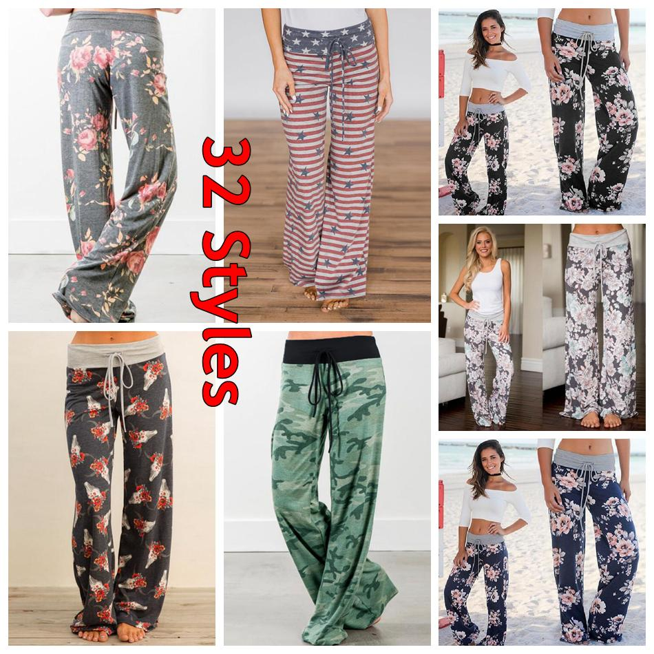 Women Floral Yoga Palazzo Trousers 27 Styles Summer Wide Leg Pants Loose Sport Harem Pants Loose Boho Long Pants 30pcs OOA5197