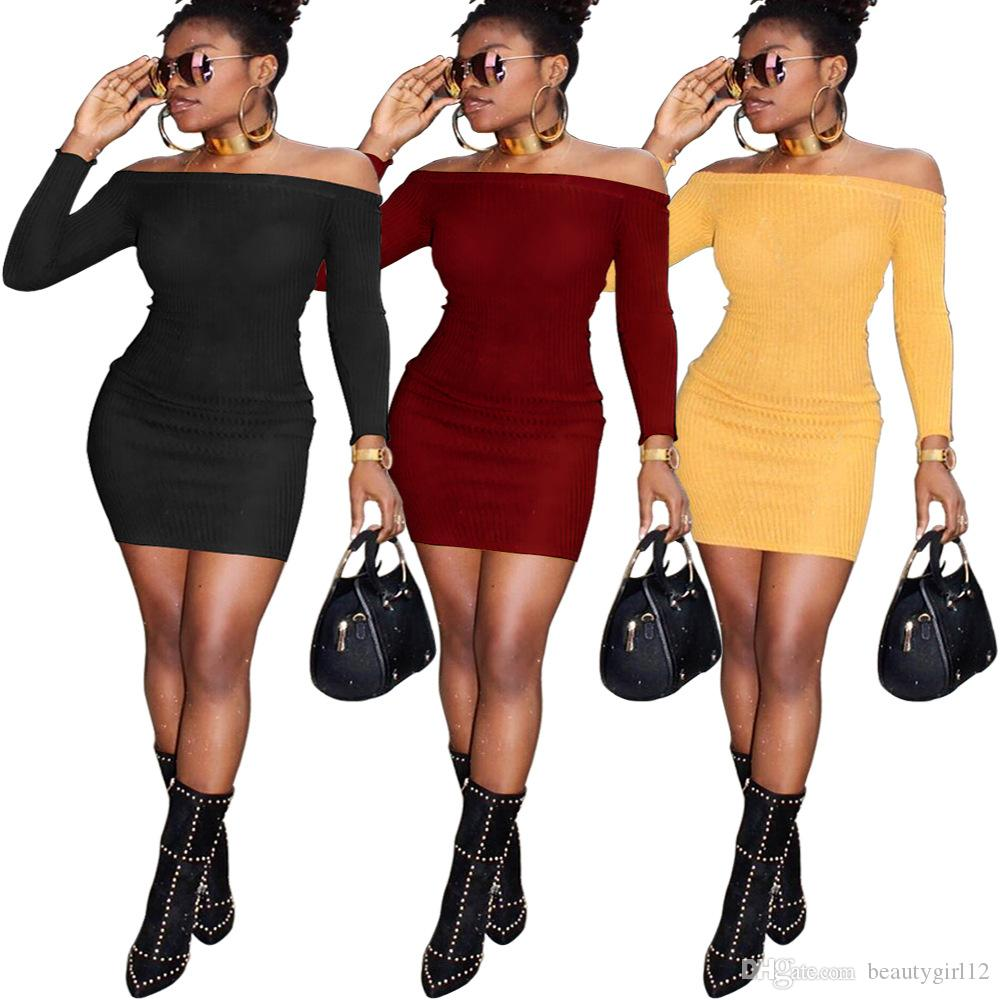 European and American qiu dong sexy a word shoulder knit dress