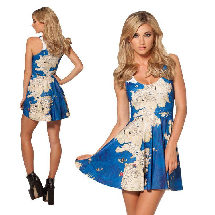 Star World Digital Print World Map Fashion Pendant Skirt 2014
