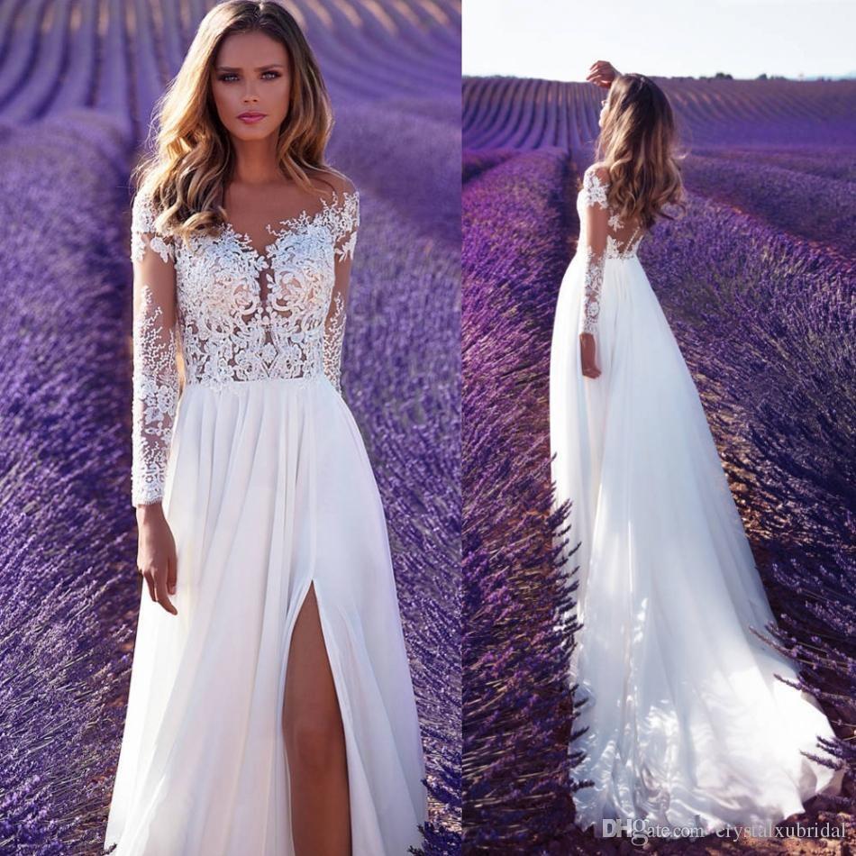 2018 New Milla Nova A Line Wedding Dresses Sheer Neck Long Sleeves ...