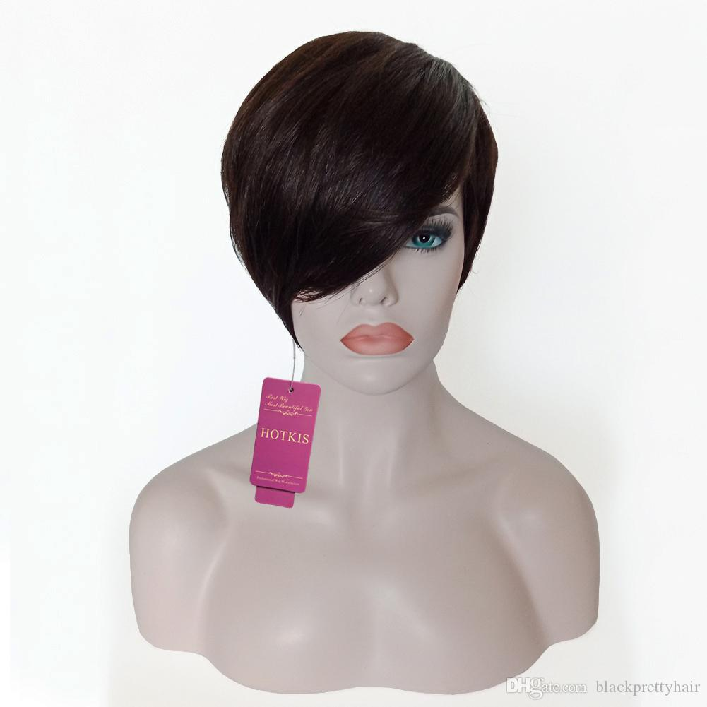 HOTKIS 100% Human Hair Long Bangs Short Cut Wigs Pixie Black Hair Glueless Wigs for Women can be washed and curled