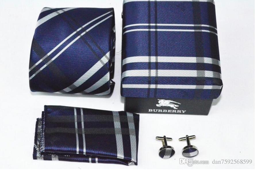 Auf Lager 8styles mode männer hals krawatten berühmte design berühmte marke krawatten gesetzt Krawatte Manschettenknöpfe Hanky bur marke krawatten für geschenk