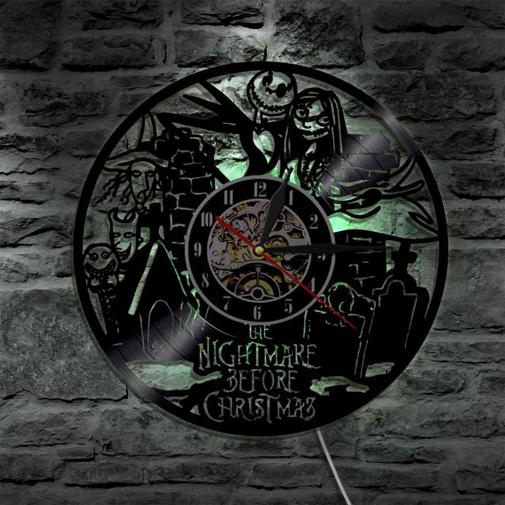 Cool Nightmare Before Christmas Gifts: Nightmare Before Christmas Vinyl Clock Wall Light Led