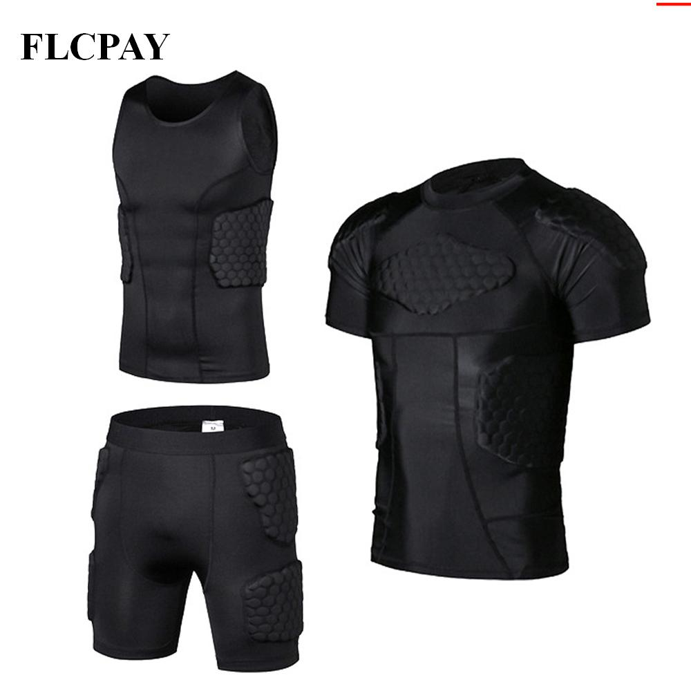 New Honeycomb Sports Safety Protection Gear Soccer Goalkeeper Jersey+Shorts+ Vests Outdoor Football Padded Protector Gym Clothes