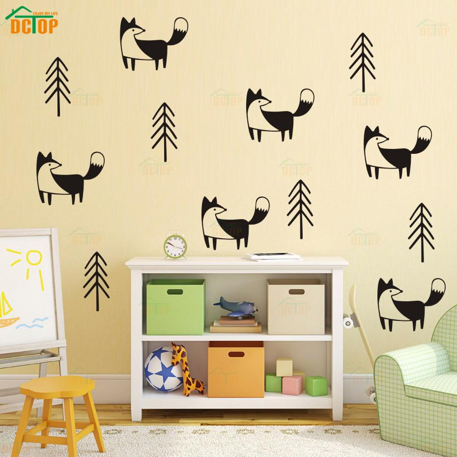 Nordic Cartoon Fox In Forest Pine Tree Wall Stickers Vinyl Woodland ...