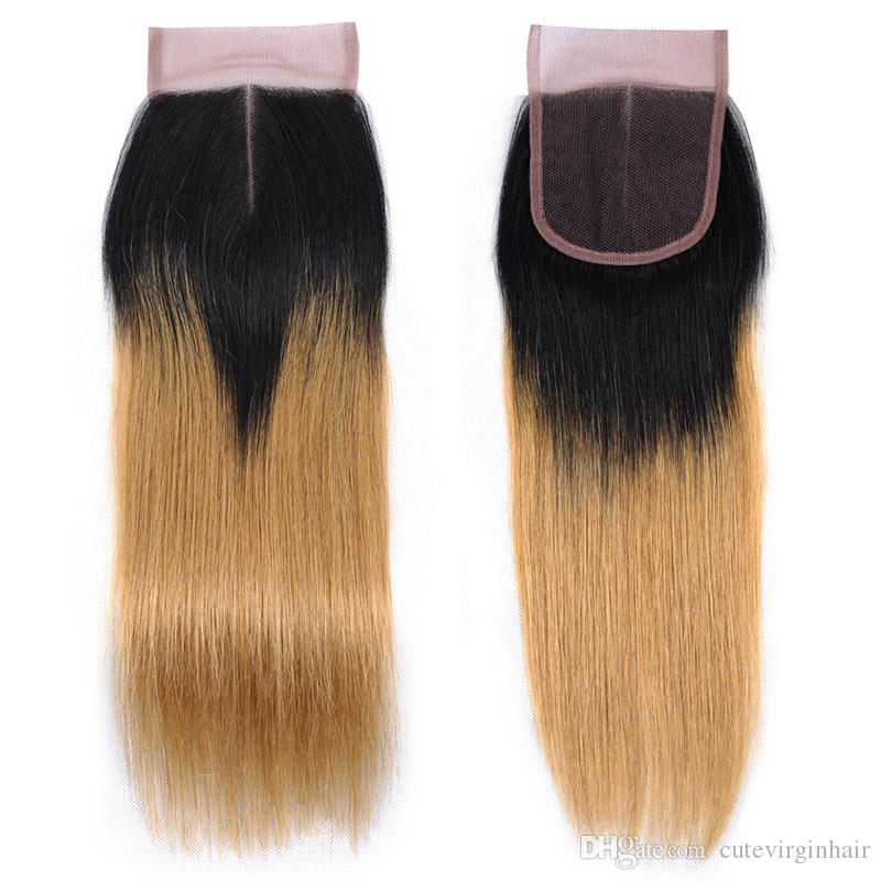 #27 Honey Blonde Pure Color #1B/27 Dark Root Blonde Ombre Color Natural Black Straight Closure Hair Brazilian Peruvian Malaysian Hair Weaves