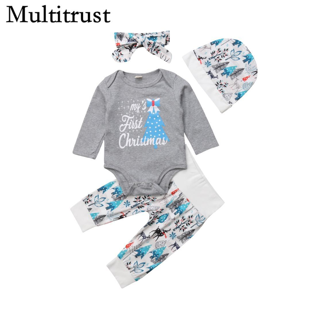09d8ea184 2018 Multitrust Brand 4PCS Newborn Baby Boy Girls First Christmas Clothes  Gray Romper +Pants Hat Outfits Xmas Autumn Set