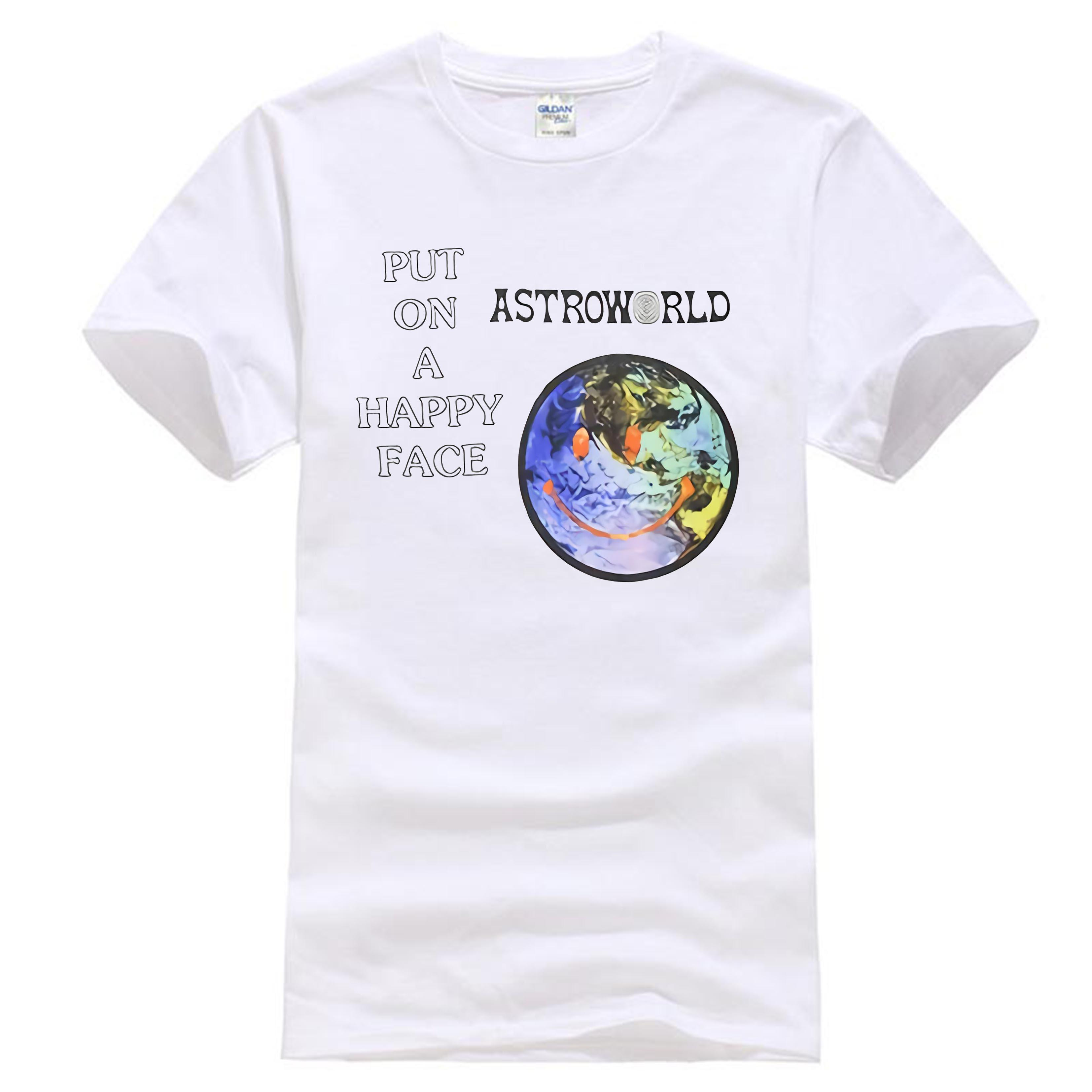 f718a6813a34 ASTROWORLD HAPPY FACE T SHIRT Travis Scott Merch World Face New Top Tees  Style Fashion Men T Shirts 100% Cotton Classic Online Tee Shirts Shopping  Funniest ...