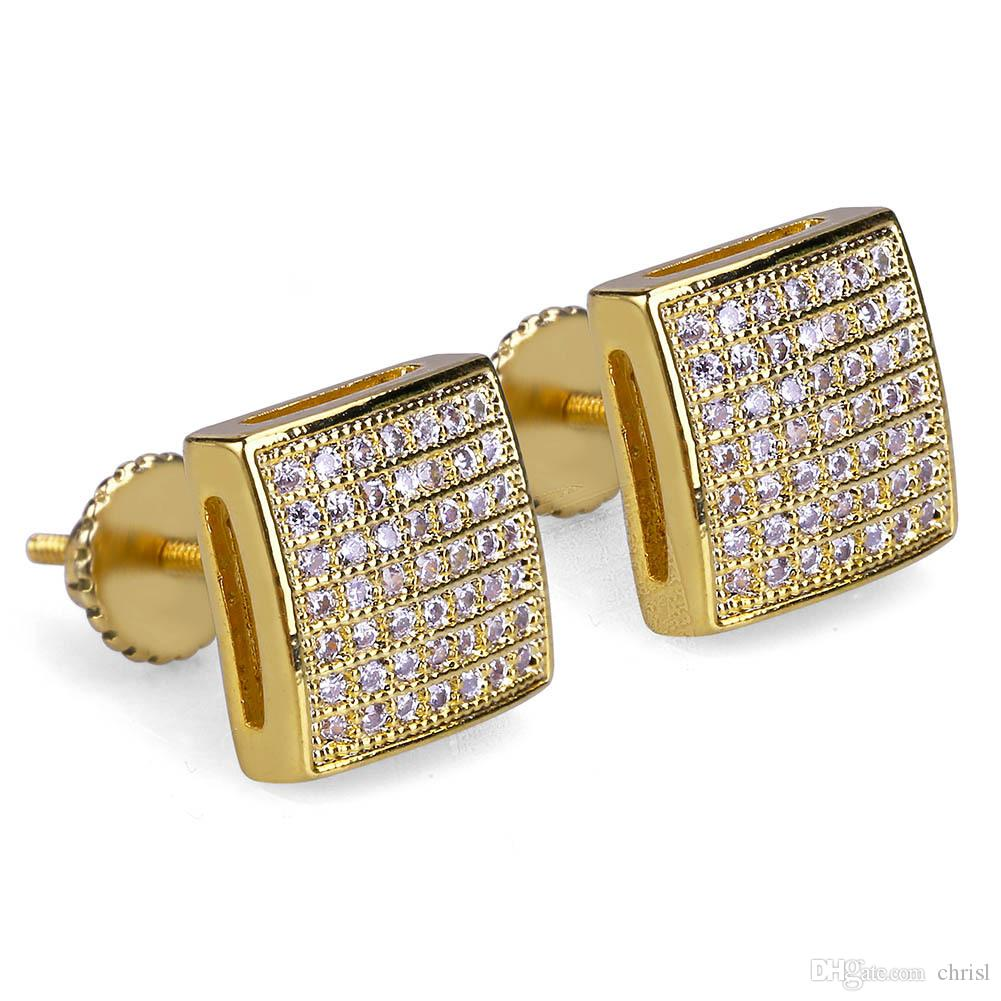 14K Gold Plated Hip Hop Micro Paved CZ Square Curved Back Screw Back Stud Earring for Men Women