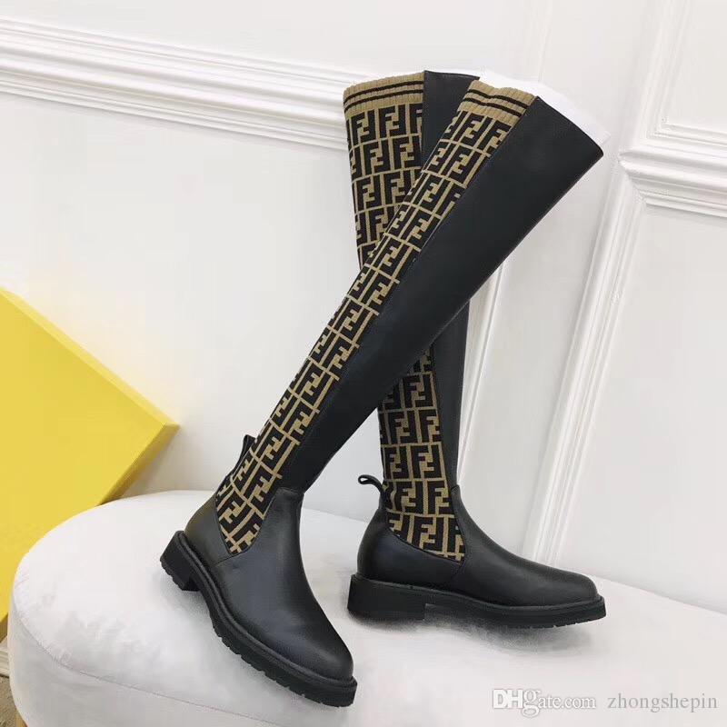 Luxus F Socken Frauen Stiefel Schlank über das Knie hohe Stiefel gestrickte sexy elastische Mode Oberschenkel Flache Ferse Damen Winterstiefel hohe
