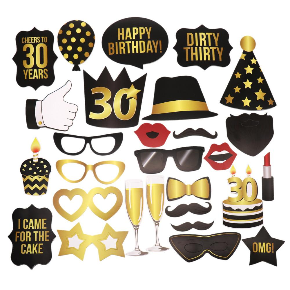 Cheap DIY Decorations Birday KTV Photo Props Funny Style Moustache Glass Mask 30th 40th 50th Birthday Gift Party Decoration Lights