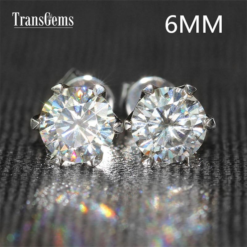 0f9389b6c40f Compre Transgems 14K 585 De Oro Blanco 1.6ctw 6mm Lab Crearon Aretes Con  Diamantes Moissanite Para Mujeres Empuja Pendientes Atrás A  560.81 Del  Cukojew ...