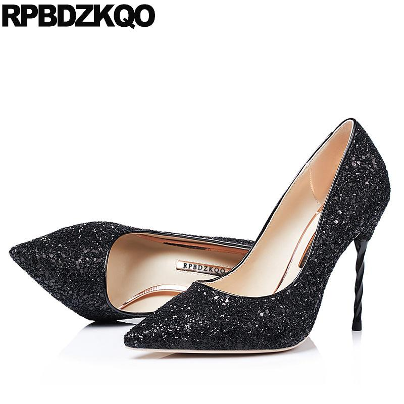 51ab0e8e1b1b High Heels Silver Glitter Pumps Scarpin Big Size Black Bride Strange  Crystal Sparkling 10 42 Shoes Rhinestone 11 43 Pointed Toe Women Shoes  Boots For Men ...
