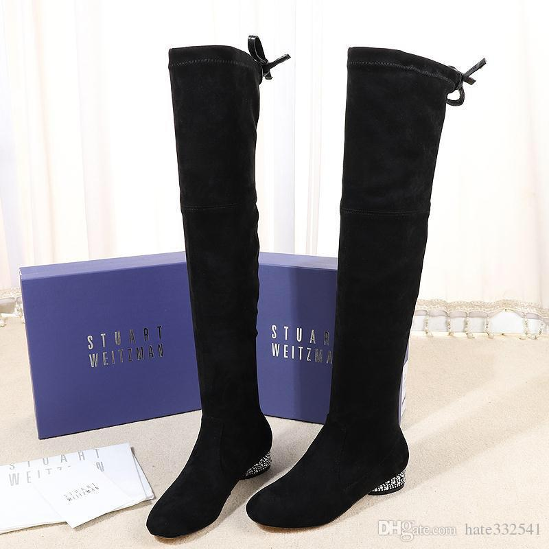 81974f488a6c2 Casual womens boots United States Stvart Weltzman retail elastic stretch  velvet slip design Tall boots stretch leather Boots 35--40 High 3cm
