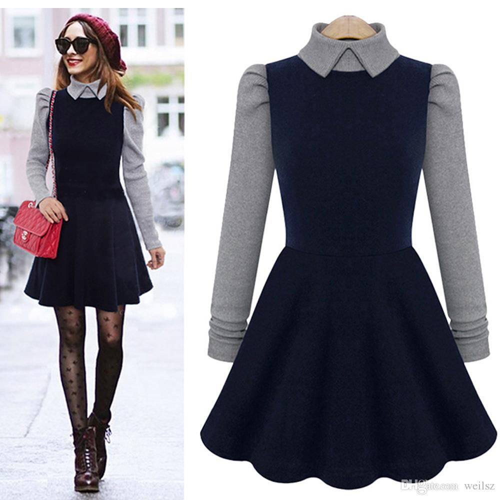 5618e83d29226 Women Vintage Panelled Dresses Long Sleeve A-Line Dress For Womens Clothing  Free Shipping ST-0327 Dark Blue