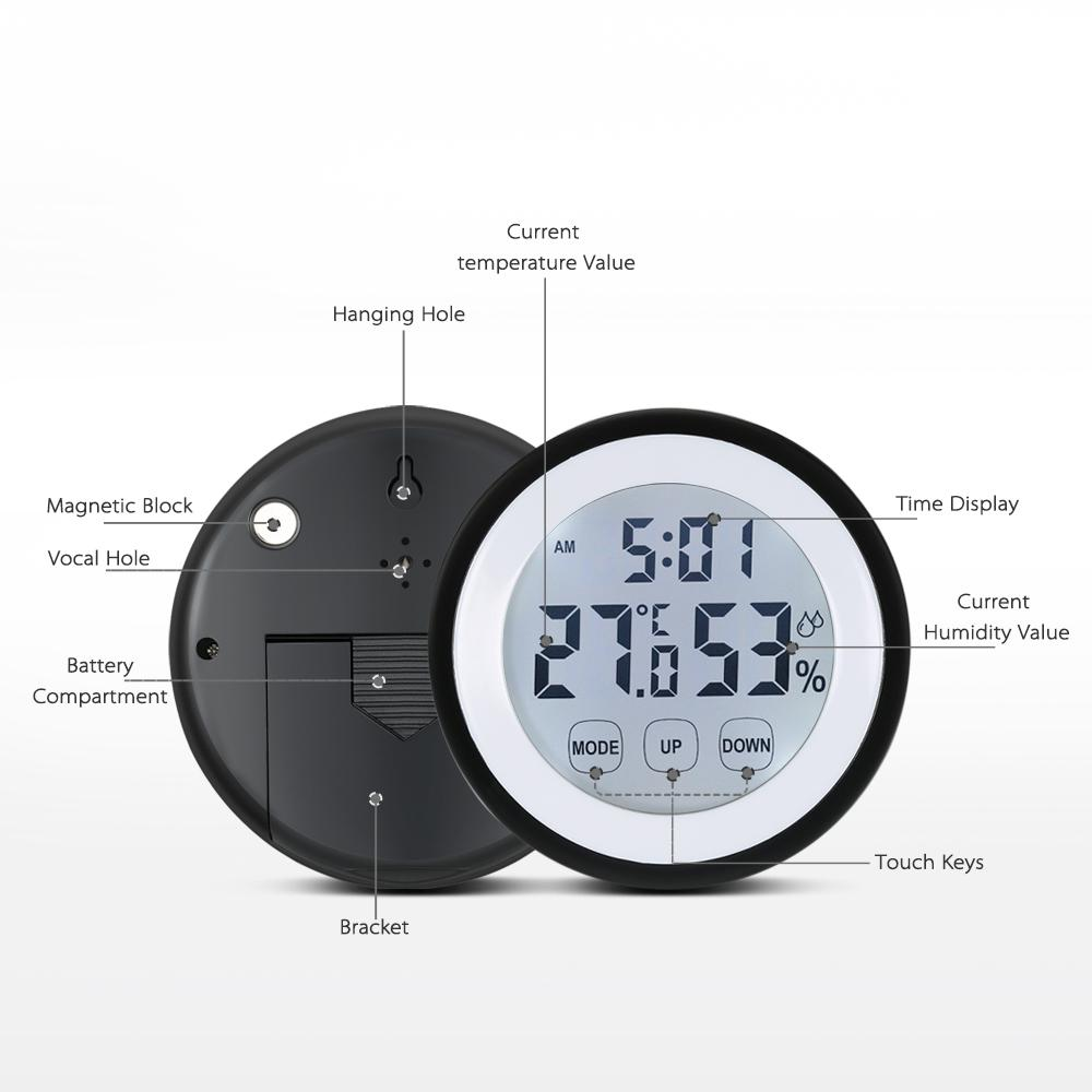 Freeshipping Digital Thermometer Hygrometer Temperature Humidity Meter Alarm weather station Clock Touch Key Centigrade/Fahrenheit Degrees